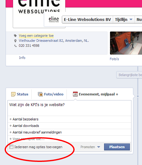 Voeg Facebook poll opties toe.